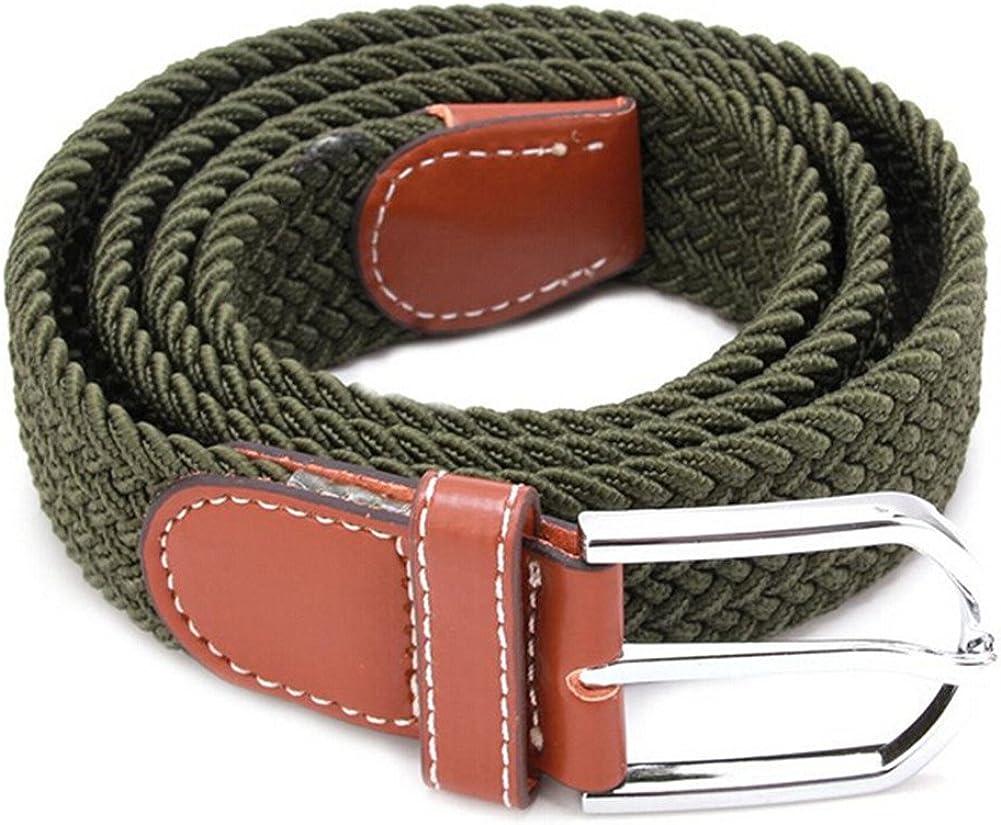 ODN Mens Stretch Braided Elastic Woven Canvas Buckle Belt Waistband Waist Straps