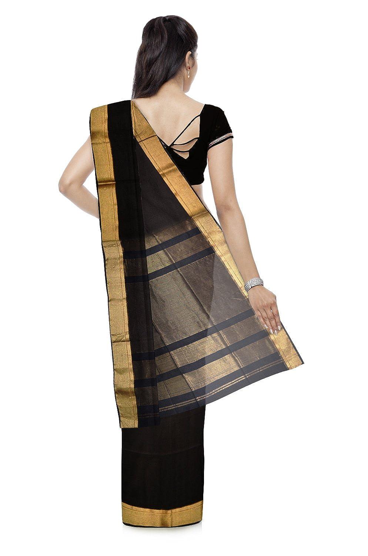 Black Color Maheshwari Cotton & Silk Silk Saree With Blouse Piece