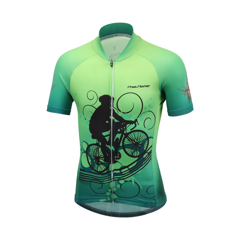 FREE FISHER Unisex Kids Cycling Jersey Breathable Cartoon Road Mountain Bike Clothing, Bike Top, 4-5 Years/M