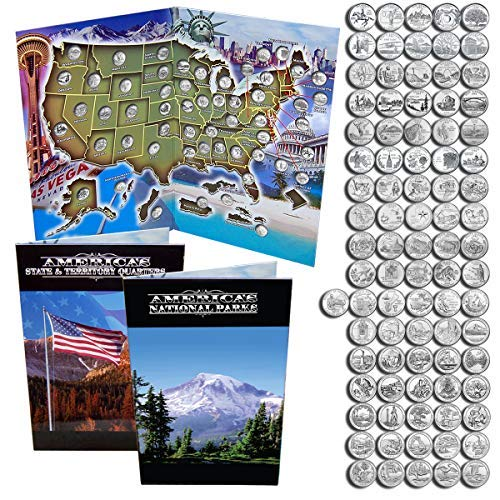 State Quarters 1999- 2009 & National Park Quarters 2010 - 2018 in a Map Book. ()