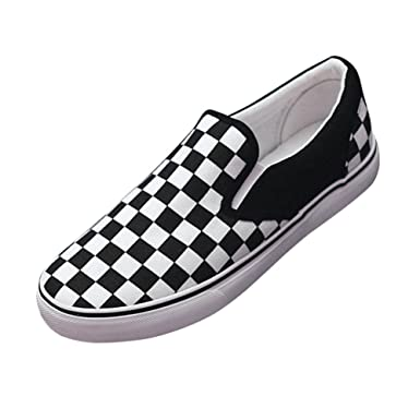 54ad5dd9cd8 Paul Kevin Checkerboard Canvas Lazy Casual Flat Rubber Slip-On Shoe Black White  US