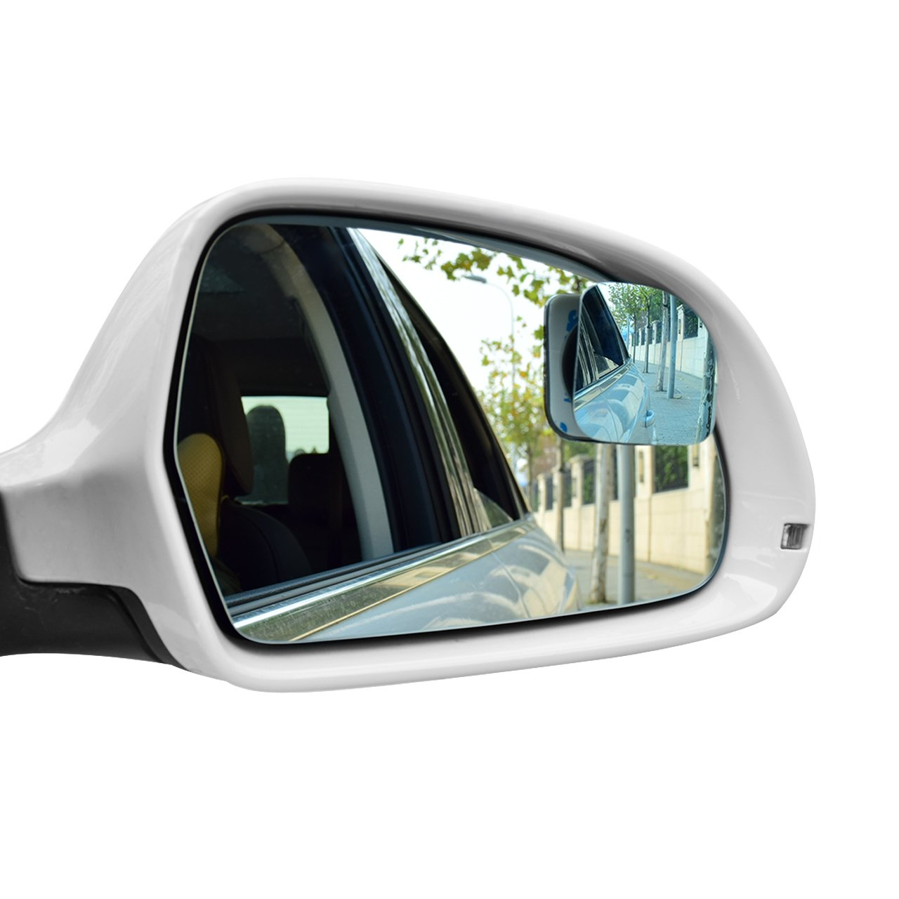 DEDC Blind Spot Mirrors Two Pack Fan-Shaped Anti Glare Blue Tint Blind Spot Mirrors For Cars Adjustable Blindspot Mirror Car 360 Degree Rotate