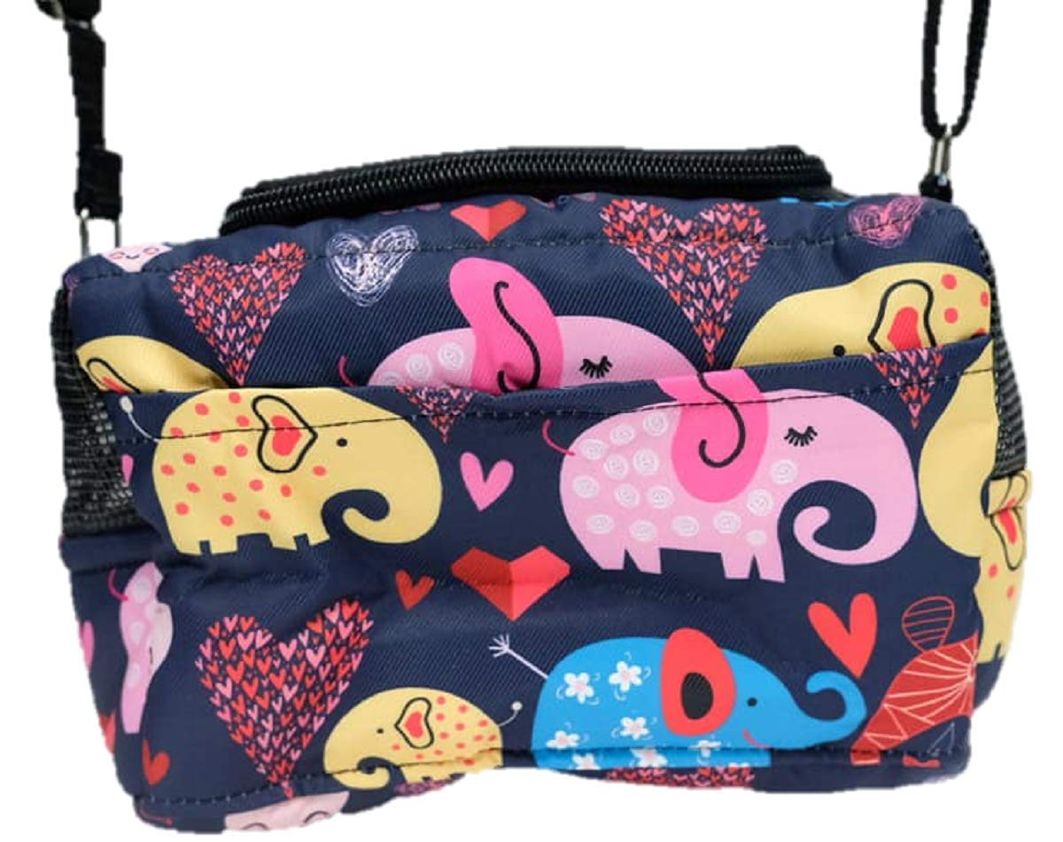 HOT! Small Size Cute Travel/Portable Navy Blue Elephant Screen Sugar Glider Marmoset Bird Hamster Squirrel Chinchillas Small Pet Travel Cage Shoulder Bag Comfort Carrier by Polar Bear's Republic by Polar Bear's Pet Shop
