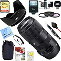 Sigma 100-400mm F5-6.3 DG OS HSM Contemporary Full Frame Telephoto Lens Canon (729-954) + 64GB Ultimate Filter & Flash Photography Bundle