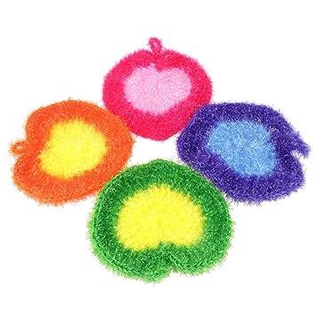 Cepillo de limpieza para lavavajillas, ropa, ropa, corazón, esponja, terileno, azulejos, macetas y sartenes de cerámica, 3 paquetes: Amazon.es: Hogar
