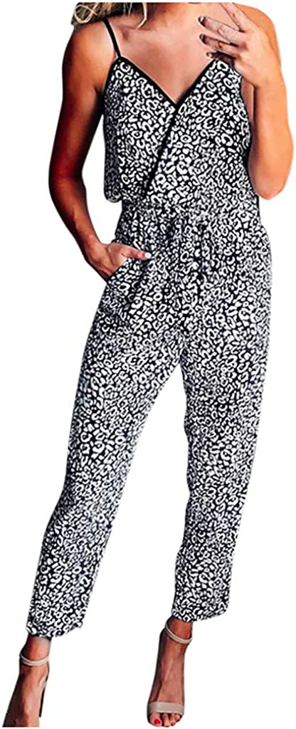 Simayixx Womens Spaghetti Strap Sleeveless Leopard Jumpsuit Summer Drawstring Waisted Jogging Playsuit Rompers
