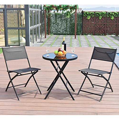 MD Group Table and Chair Suit Set 3 Pieces Foldable & Scratch-resistant Outdoor Patio by MD Group