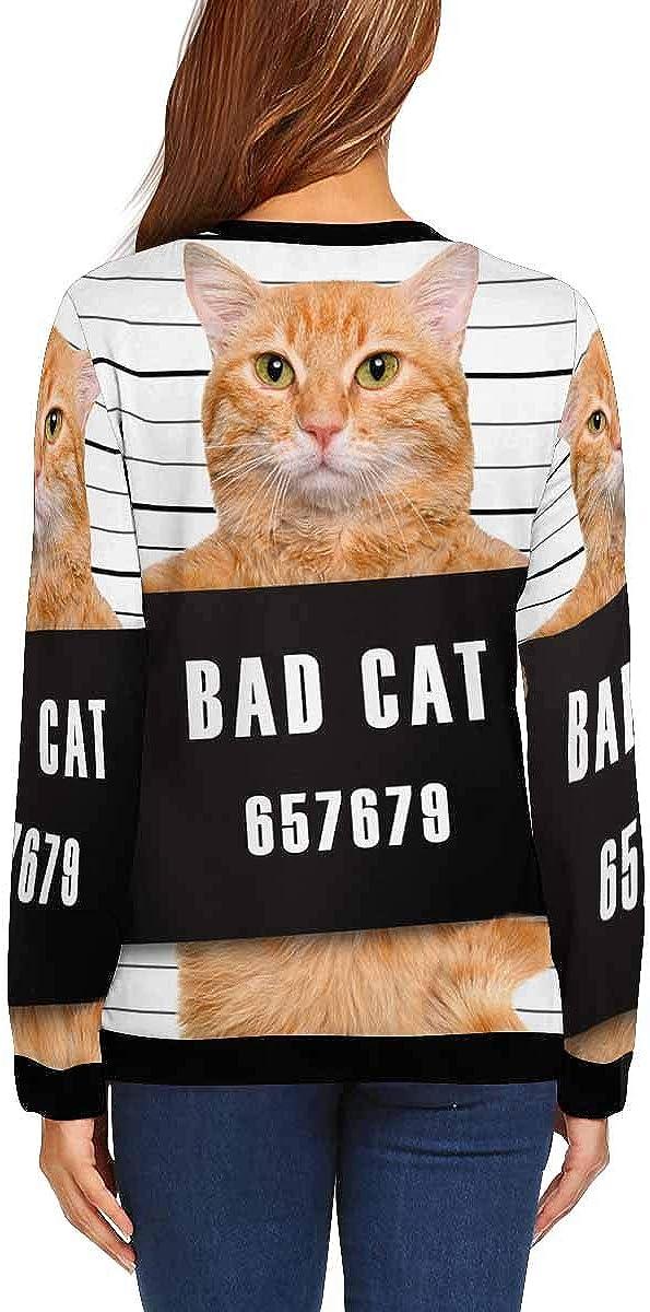 INTERESTPRINT Womens Casual Pullover Tops Cat Banner White Crew Neck Sweatshirt XS-XL