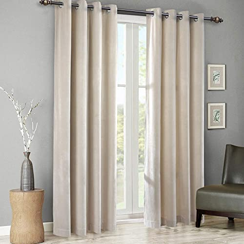 SINGINGLORY Ivory Velvet Curtains 52 x 96 Inch 2 Panels Set Room Darkening Grommet Window Curtain