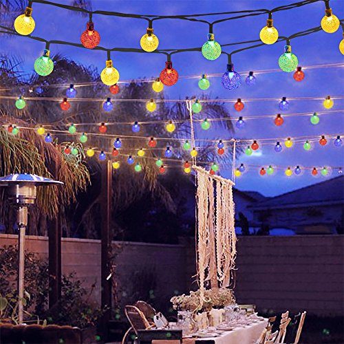 GreenClick Solar Globe String Lights, 40 LEDs 19.6ft Solar Powered Outdoor String Lights Fairy Light Crystal Ball LED Decorative Lights for Garden Xmas Wedding Party Decoration (Multicolor,25.7ft)