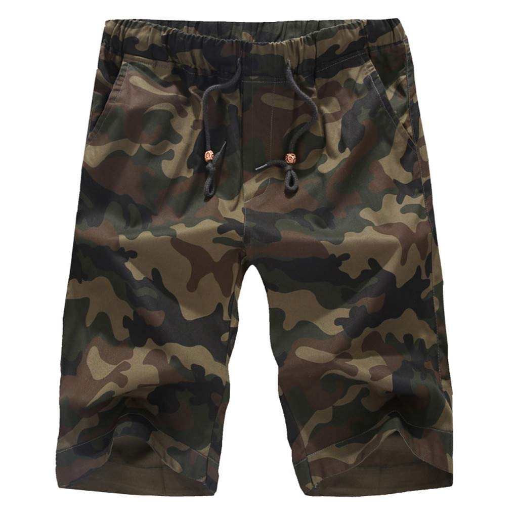 4a85dd1f8d Amazon.com: COPPEN Men Camouflage Zip Pocket Elastic Beam Line Overalls  Shorts: Clothing