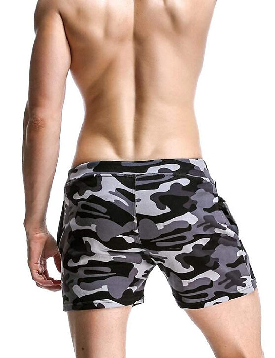 Jmwss QD Mens Camo Printed Lounge Pajama Linen Cotton Soft Woven Sleep Shorts