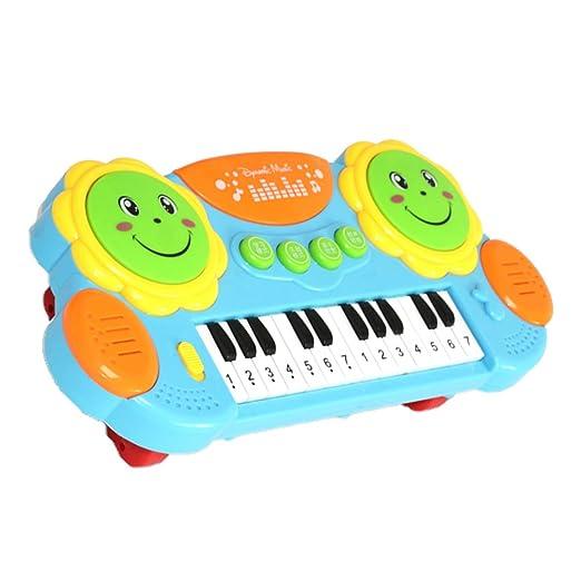 Toyvian Instrumento de Música Juguete de Dibujos Animados Teclado Multifuncional Juguete de Piano con Luz (Azul): Amazon.es: Juguetes y juegos