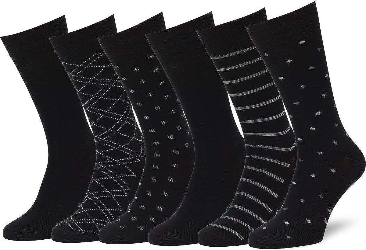Easton Marlowe Mens Dress Socks 6 Pack Classic Cotton Dress Socks for Men - Patterned Socks