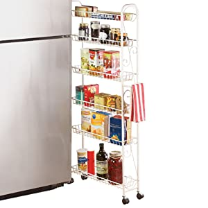 """Collections Etc Slim Rolling Pantry 6-Tier Shelf, White Metal with Elegant Scroll Design Accent - Extra Kitchen and Bathroom Storage, 6"""""""