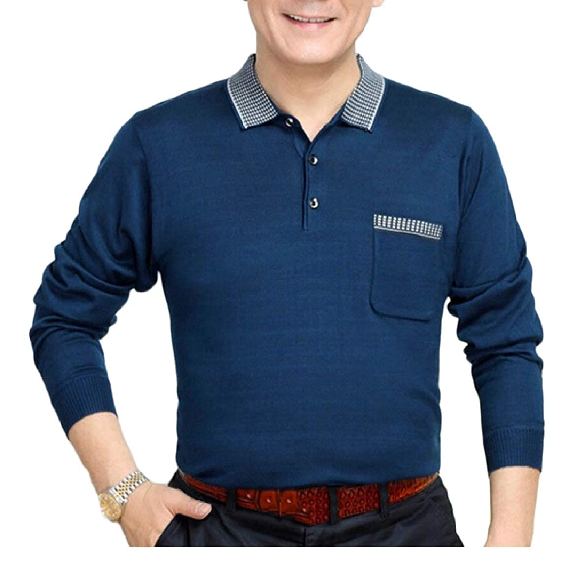 Smeiling Mens Business Polo Shirt Long Sleeved Knit Autumn Slim Fit