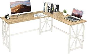 GreenForest L Shaped Corner Desk, 63.8'' x 50'' Industrial Heavy Duty Computer Gaming Desk Workstation for Home Office, Oak