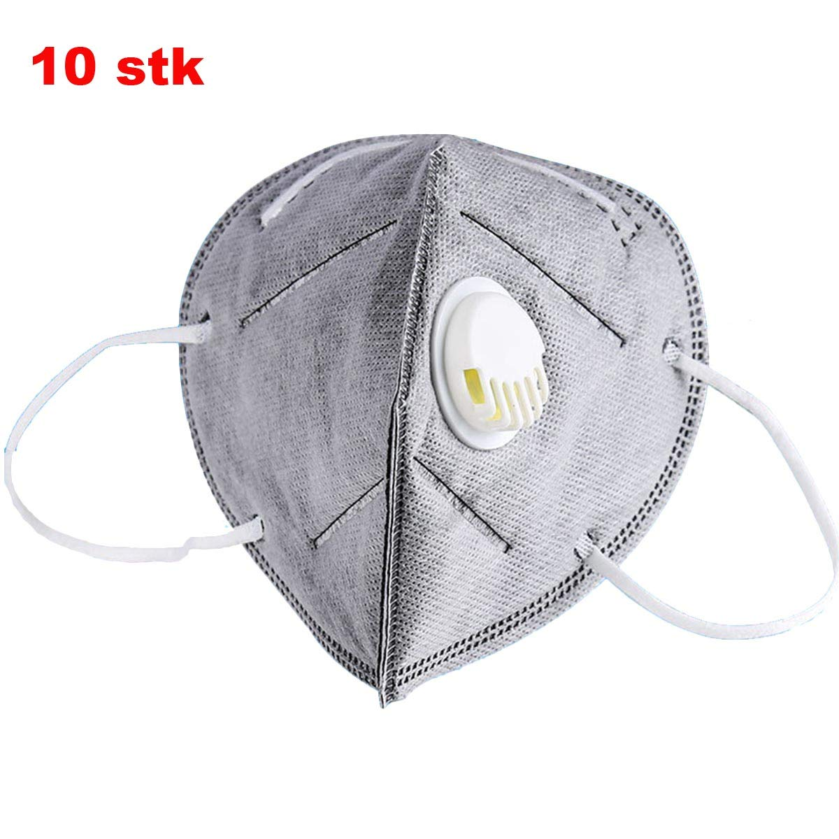 BESTOMZ 10 PCS Activated Carbon Dustproof Masks with Filter Foldable Anti-Fog Masks for Outdoors Activities