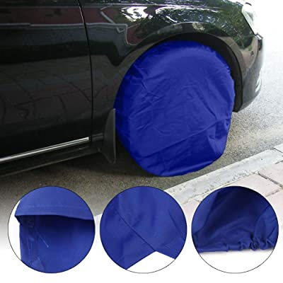 Tire Covers 4 Pack, Wheel Tire Covers for RV Auto Truck Car Camper Trailer,Waterproof Sun-Proof Weatherproof Tire Protectors, Fits for 30-32 Inch - Blue: Automotive