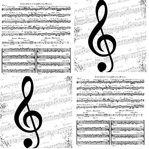 Music Themed Cocktail Napkins Variety Pack 40 paper napkins Features Sheet Music Notes treble Clef