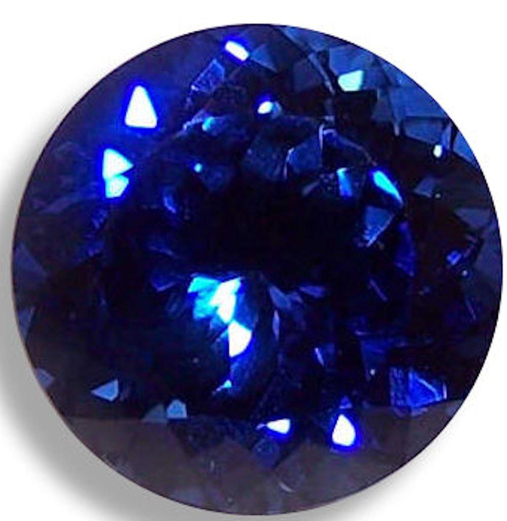 Lab Sapphire Blue Round Brilliant Loose Unset Gem (7mm-2pc, deep blue)