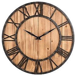 Imoerjia European Home Round Cedar Wood Iron Wall Clock (40 cm Diameter)