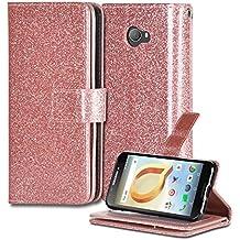 Alcatel A30 Case, Alcatel Kora Case [Kickstand Feature] Premium PU Leather Flip Fold Wallet Case with [ID&Credit Card Slot] For Alcatel A30 Verizon/Alcatel A30 GSM/Kora (Bling Rose Gold)