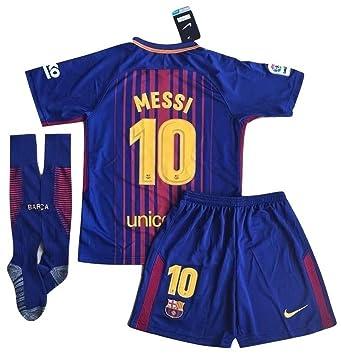 Nueva 2017/2018 Messi # 10 fc barcelona Home Jersey pantalones cortos y calcetines para niños/jóvenes, Azul, rojo: Amazon.es: Deportes y aire libre