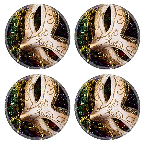 Luxlady Natural Rubber Round Coasters IMAGE ID: 26111871 Colorful Mardi Gras Mask with beaded (Carnavale Costumes)