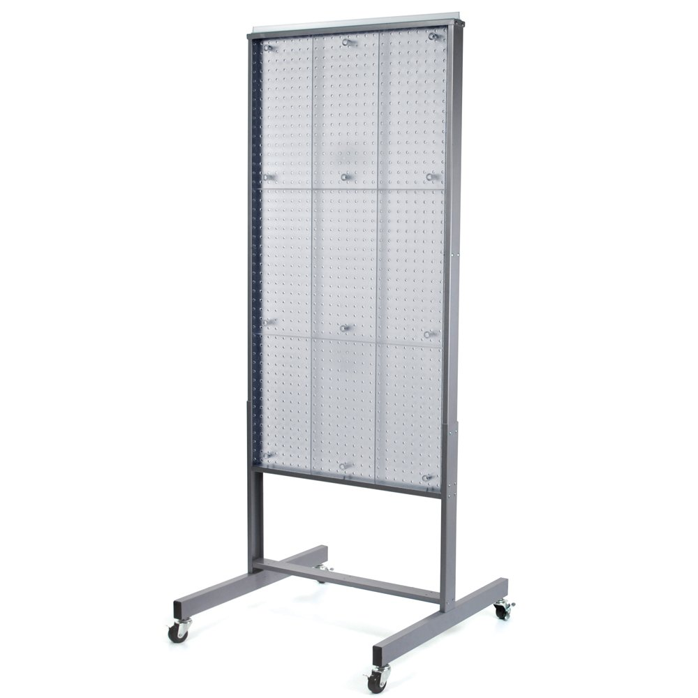 Azar 700271-CLR Two-Sided Floor Display, Clear Translucent Pegboard with Wheeled Base