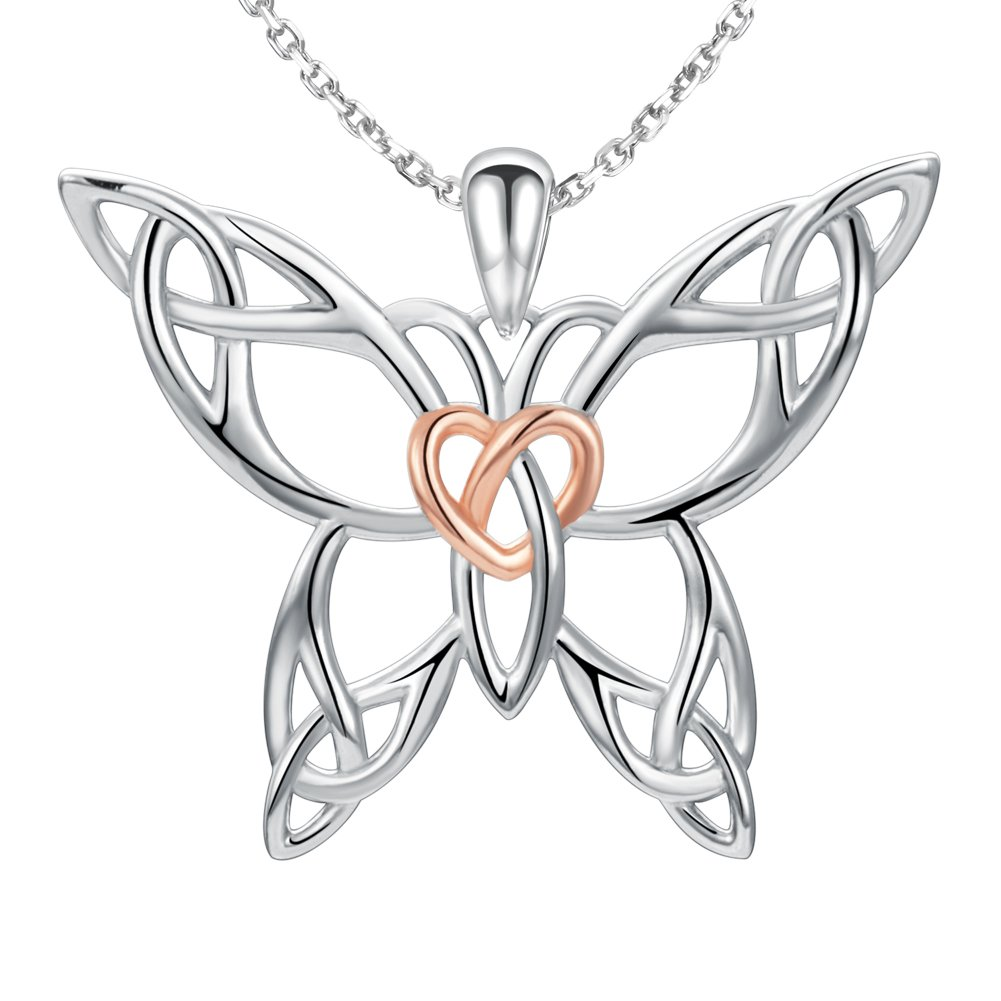 MANBU 925 Sterling Silver Celtic Knot Charm Butterfly Heart Pendant Necklace Animal gifts for Women