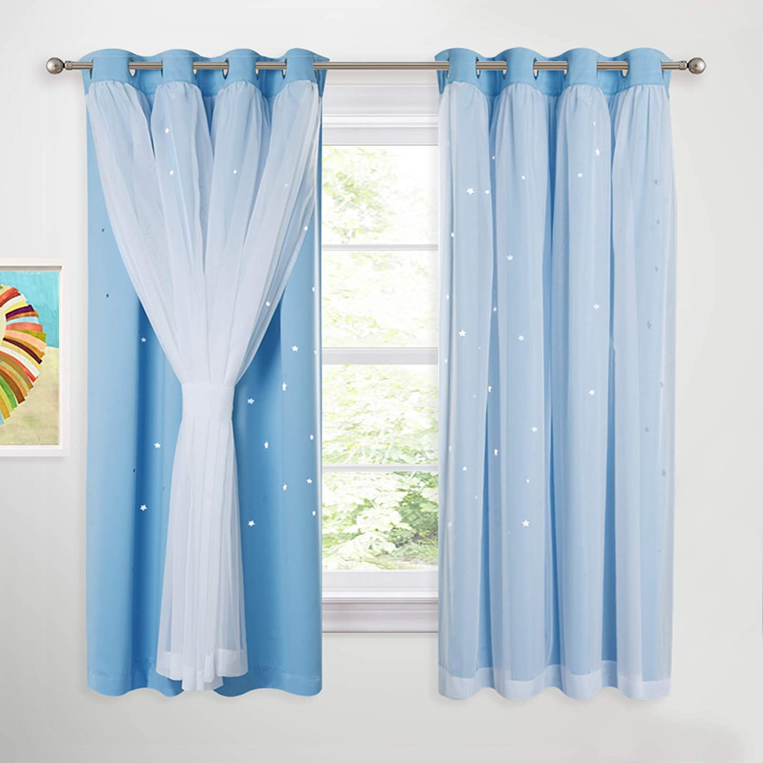 Nicetown Kids Thermal Curtains Voile Decorative Star Drapes With Eyelets For Privacy Protected Room Darken Nursery Window Panels For Kids Room Set Of 2 W 52 In X L