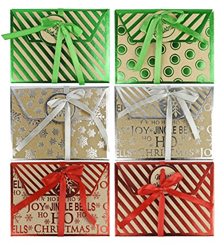 Set of 6 Assorted Kraft Christmas/Holiday Money/Gift Card Holder Greeting Cards! (6, Assorted Kraft)