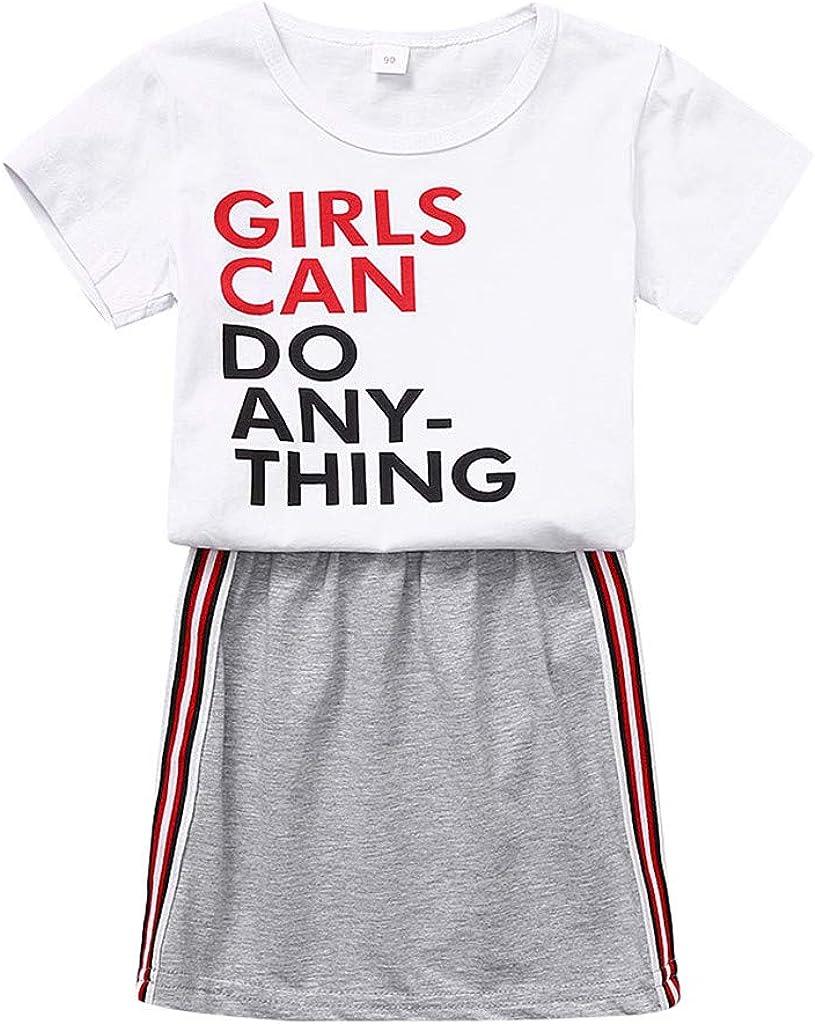 Cwemimifa Kleinkind Kinder Baby M/ädchen Sommer Outfits Kurzarm Brief Druck T Shirt Bluse Top Einfarbig Streifen Rock Sweatshirt Kleidung Set