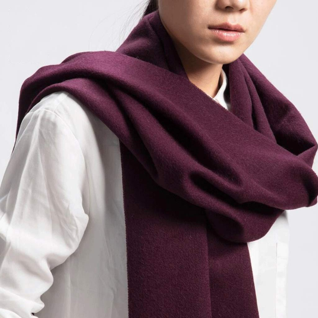C Solid color Wool Scarf Autumn and Winter Tassel Ladies Cashmere Warm Shawl Bib Dual Purpose (color   G)