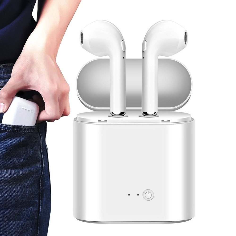 Bluetooth Headphones Ture Wireless Bluetooth Double Earphones Twins Earpieces Stereo Music Headset for Apple iPhone X 8 7 Plus 6 6S iOS for Samsung Galaxy Android Phones - White