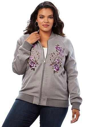 8fdaf0bcad1 Amazon.com  Roamans Women s Plus Size Embroidered Bomber Jacket  Clothing