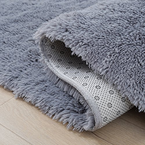 LOCHAS Soft Indoor Modern Area Rugs Fluffy Living Room Carpets Suitable for Children Bedroom Decor Nursery Rugs 4 Feet by 5.3 Feet (Gray)