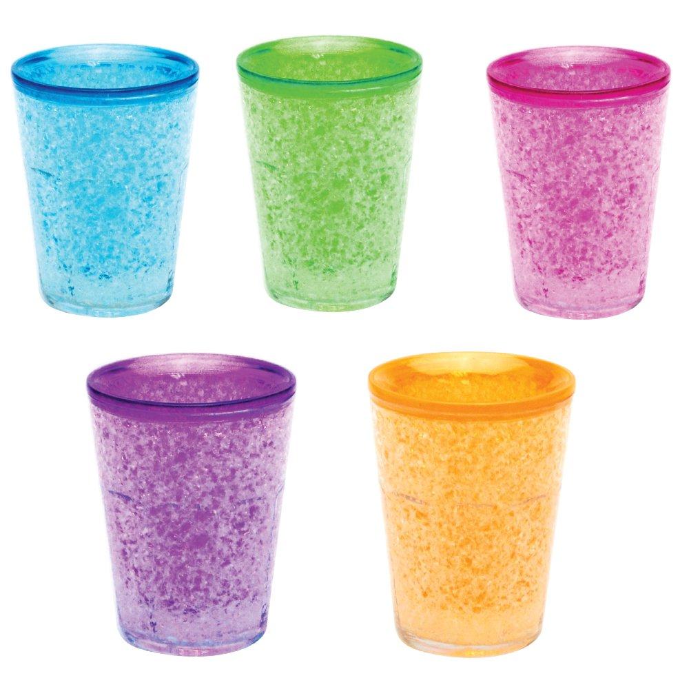 Shot Glass Freezer Gel Double Wall Shot Glass (Freezer Gel Inside) Set of 5 Assorted Colors