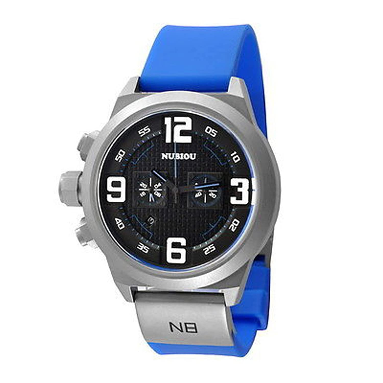 メンズブラック番号Sandblastケースホワイトダイヤルブルーシリコンバンドクォーツクロノグラフ手首腕時計 B00M8G354M