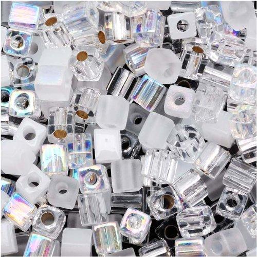 Miyuki 10gm Glass Cube Bead Mix, 4mm, Crystal - Cube Beads Glass 4mm