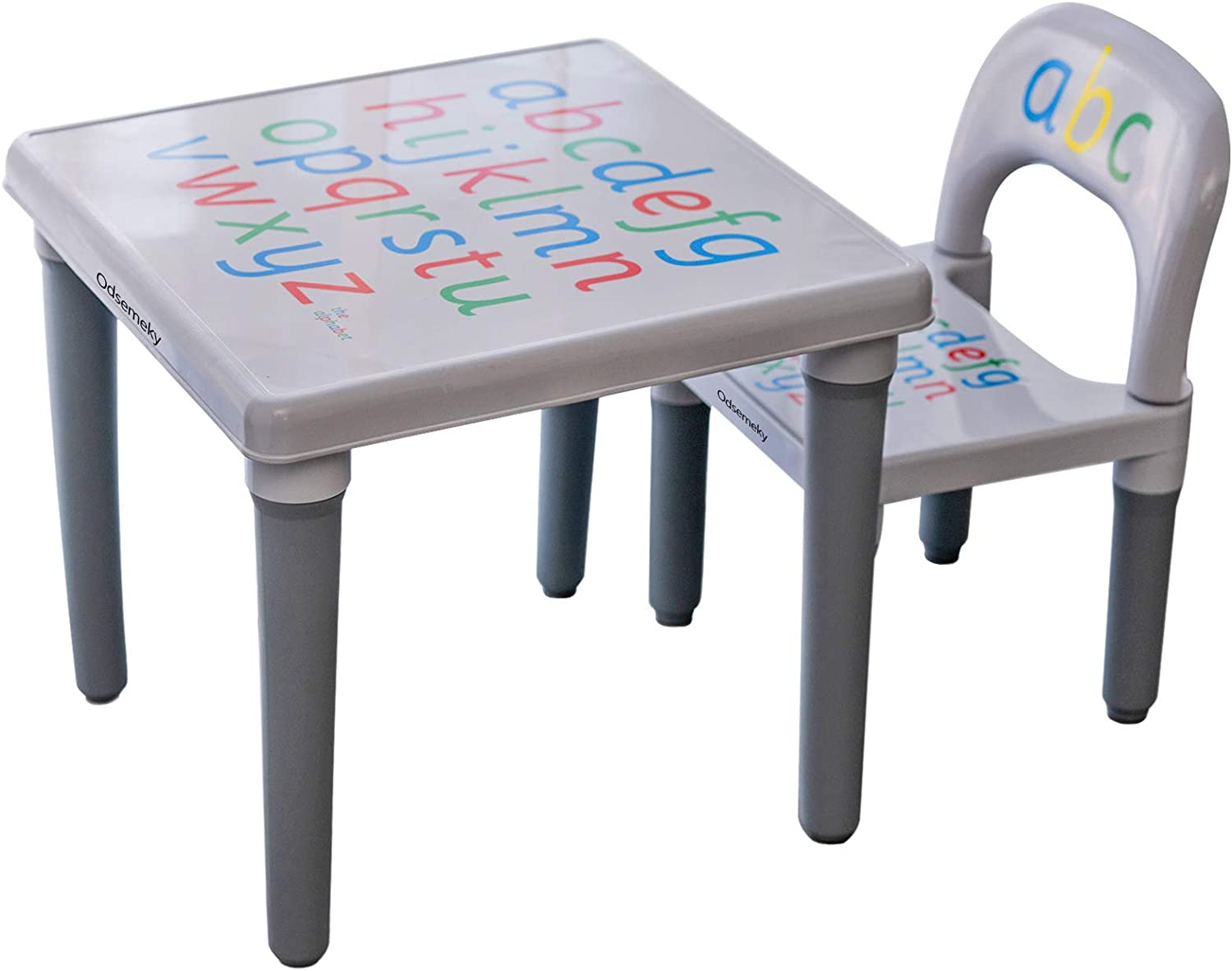 Odsemeky Toddler Activity Table and Chair Set, Kids Table Chair with Anti-Slip Stickers/Plastic Furniture for Study Play Arts Dining Patio Desk for Baby Girls/Boys