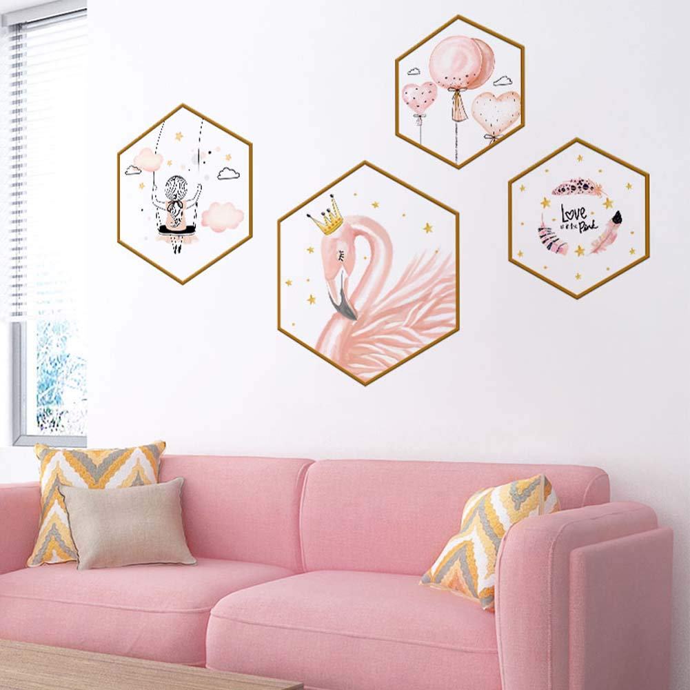 WallDecals Pink Flamingo Wall Decal Girls Balloon Pastoral Style Wall Stickers Vinyl Removable Art Wall Decals Bedroom Living Room