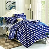 #8: EsyDream Home Bedding,Ocean Shark Design Kids Duvet Cover Sets,Queen Twin Size Shark Children Bedspreads,Cotton & microfiber (No Comforter),Twin Size (4pc Set)