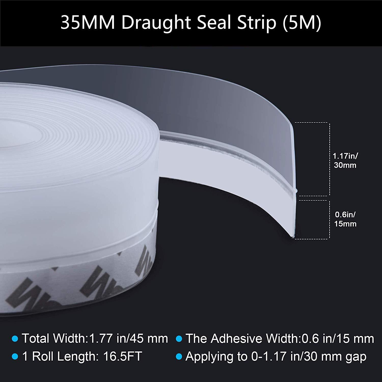 Tira de sellado de silicona 3,5 /× 500 cm de la parte inferior de la tira de la puerta de la parte inferior de la tira adhesiva de la intemperie para el agua y el viento