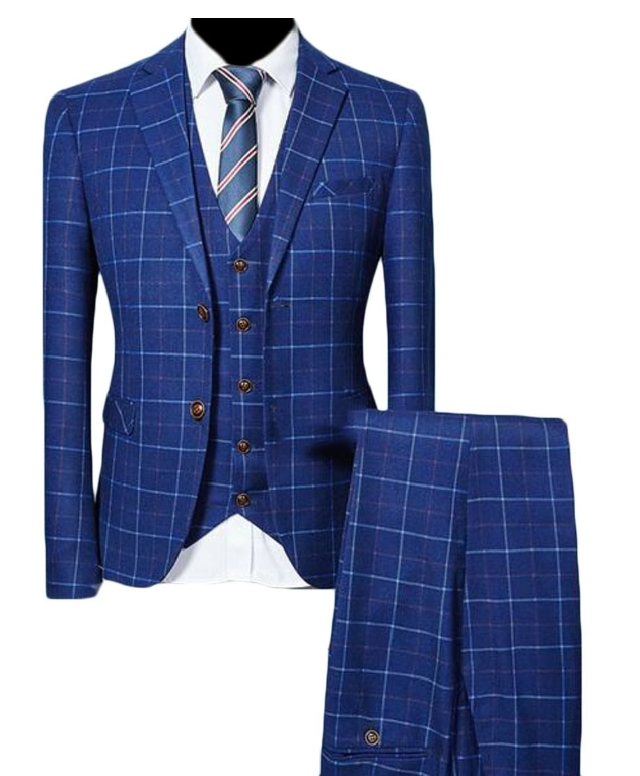 Emastor Men's Plaid 3-Piece Suit Blazer Jacket Tux Vest & Trousers