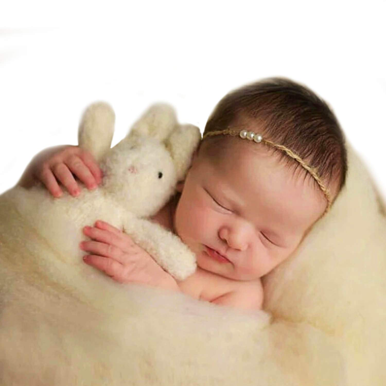 Green-Blue Sunmig Newborn Baby Wool Fluff Photo Props Merino Basket Stuffer Basket Filler Rug Photography Prop