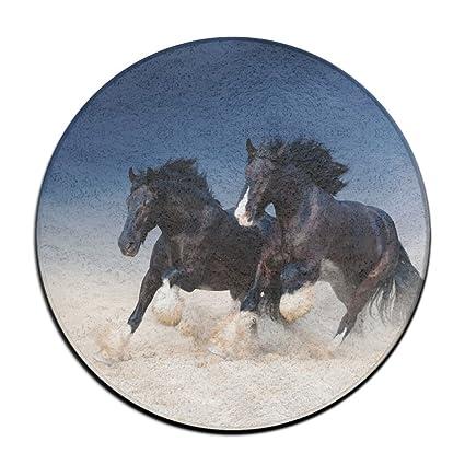 Amazoncom Mansantubazhu Black Horse Run Kicking Dust Round Door