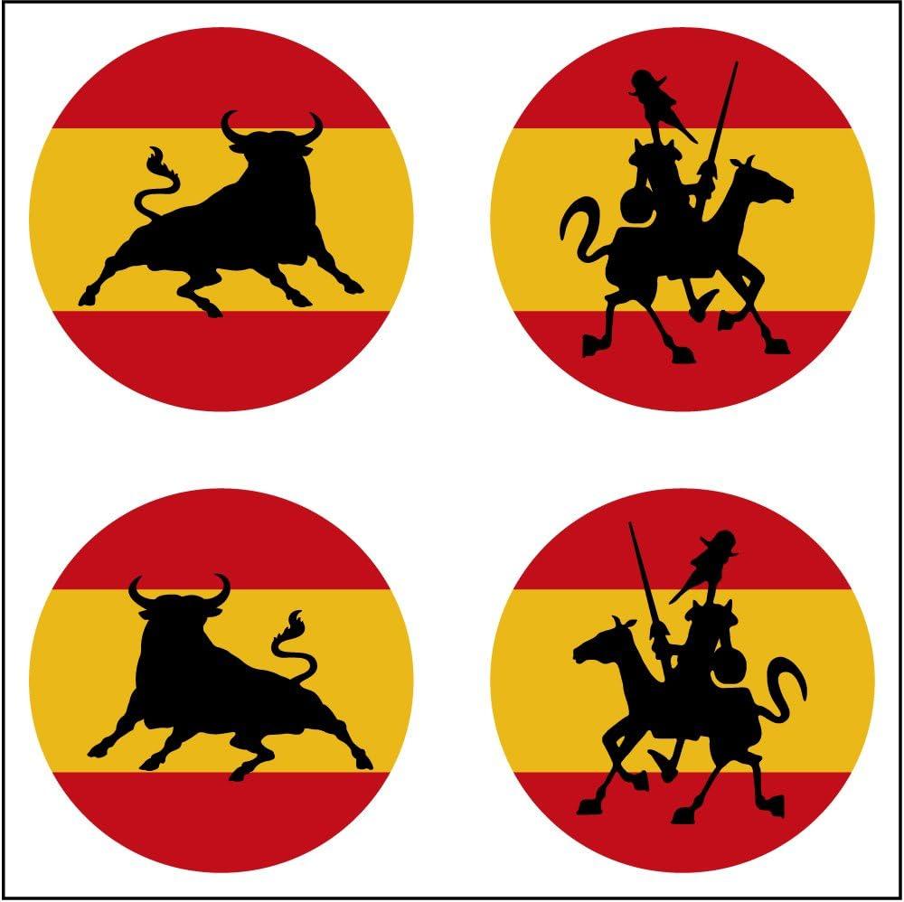Artimagen Pegatina Bandera España 4 uds. Toro y Quijote ø 30mm/ud ...