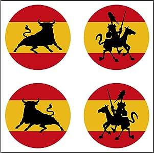 Artimagen Pegatina Bandera España 4 uds. Toro y Quijote ø 30mm/ud.: Amazon.es: Coche y moto